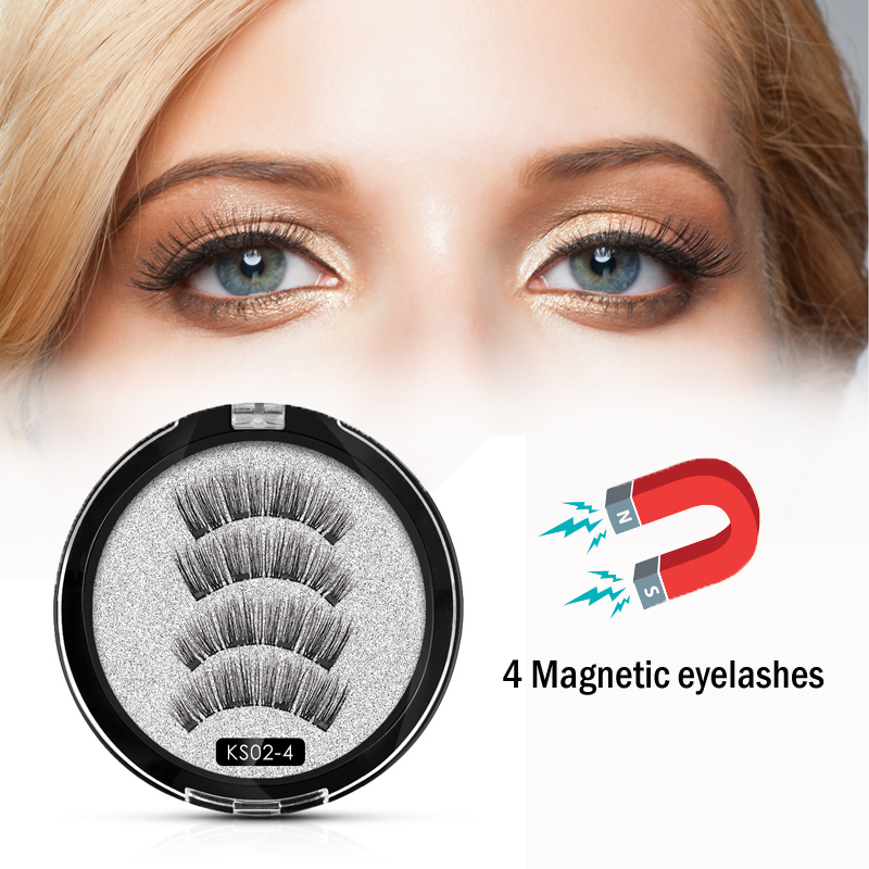 Shozy Magnetic Eyelashes With 4 Magnets Handmade 3D Magnetic Lashes Natural False Eyelash Magnet Lash With Gift Box-KS02-4