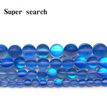 Navy Blue Frost Moonstone Gem Matte  Round crystal Beads 6 8 10 12MM Fit Diy DIY Chrams Necklace Bracelets For Jewelry Making