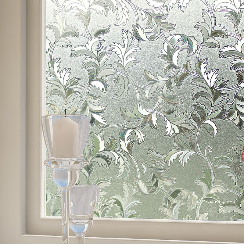 Elegant Frosted Glass Window Sticker Film Floral Flower 3d