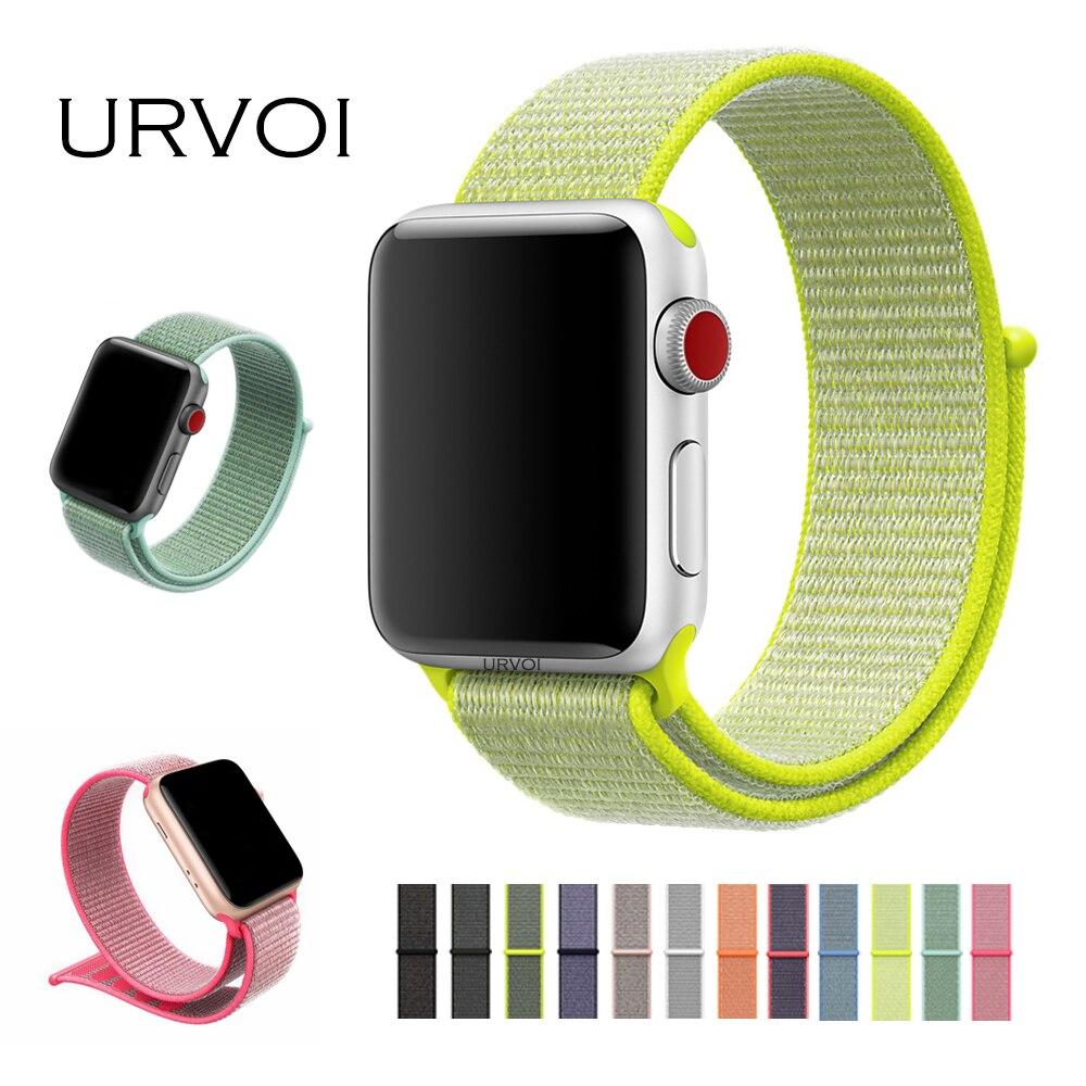 URVOI primavera 2018 Sport lazo para apple watch Serie 3 2 1 banda para iwatch doble capa de nylon tejido breathabe correa gancho sujetador