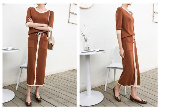 2018 verano nuevo Casual Camisa del suéter de dos piezas traje de falda Falda larga al por mayor
