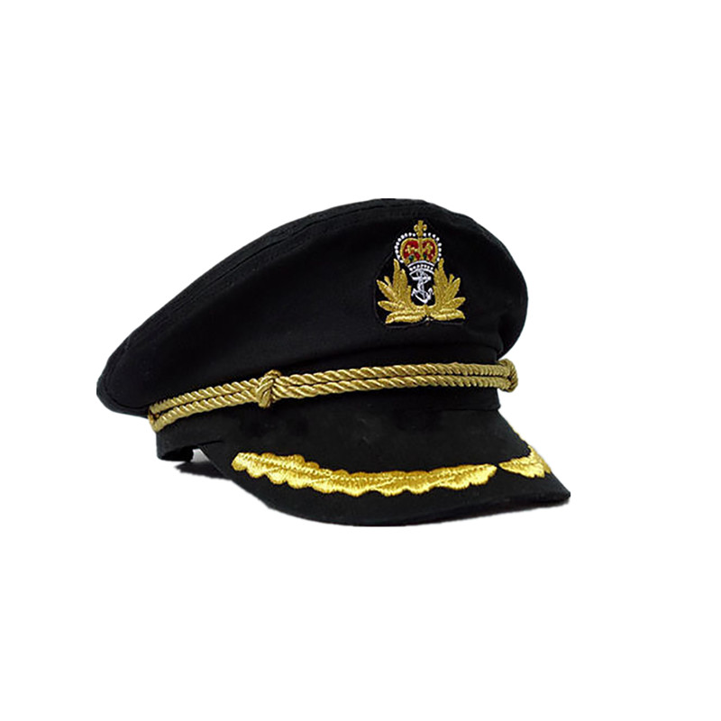 NaroFace Unisex Cotton Sailor Captain Hat Uniforms Costume Party Cosplay Stage Perform Flat Navy Military Man Female Cap Black