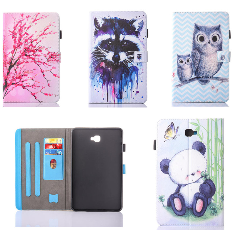 OWI DOG Cartoon tree Pattern PU Leather Tablet Cover with Card Holder For Samsung Galaxy Tab A A6 10.1 2016 T585 SM-T580 T580N