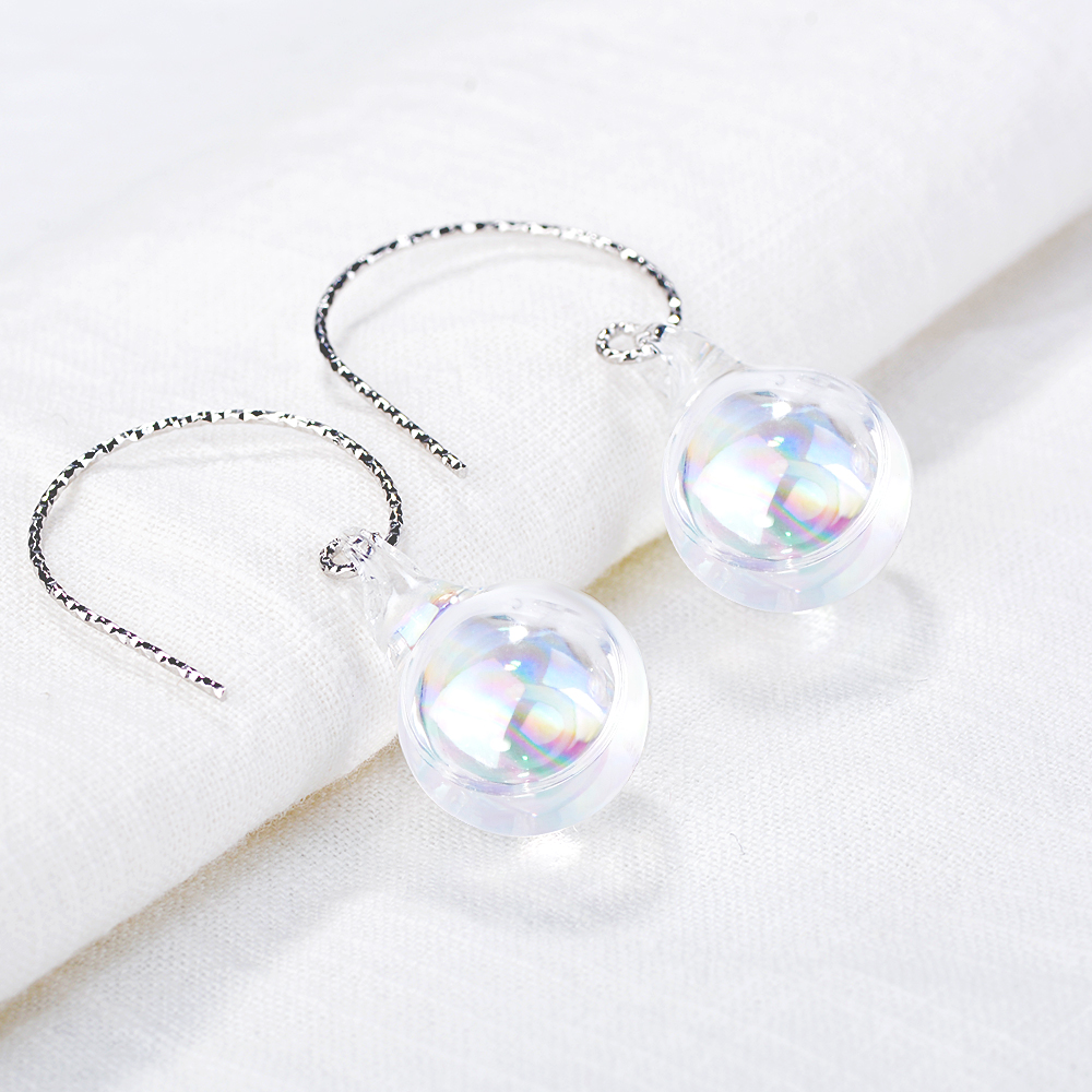 New sterling silver jewelry women's silver earrings ball earrings pure silver ear hook romantic female models silver jewelry