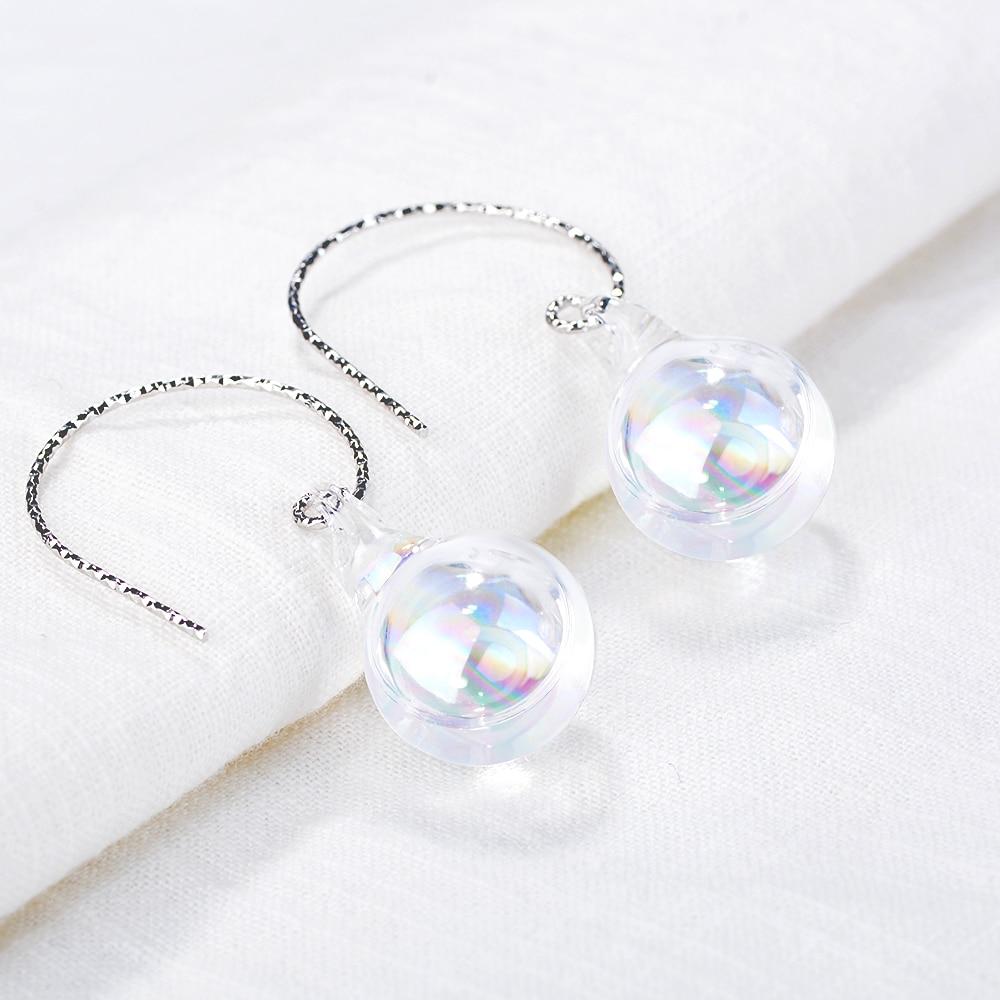 New sterling silver jewelry women's silver earrings ball earrings pure silver ear hook romantic female models silver jewelry