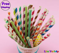 500pcs Mixed Free Shipping Paper Drinking Straws Polka Dot Striped For Party