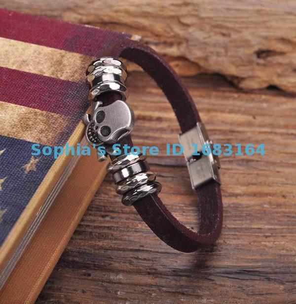 G145 Braunen Klar Leder Schädel Armband Armband Manschette Edelstahl Schließe Mens