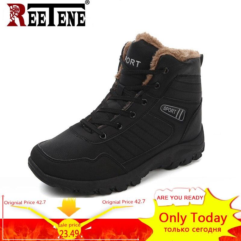 REETENE Warme Pelz Winter Schuhe Männer Hohe Qualität Pu Leder Winter Männer Stiefel Freien Pelz Hard-Tragen Männer Schuhe plus Größe 39-45