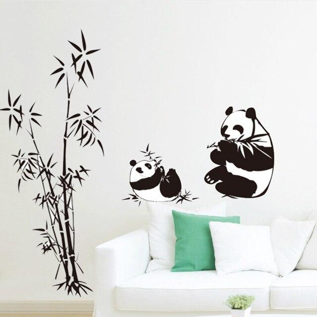 nouveau noir panda bambou stickers muraux salon tv mur canap chambre amovible accueil sticker. Black Bedroom Furniture Sets. Home Design Ideas