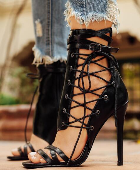 2017 Summer Hot Leather Straps Open Toe Women Lace Up Side Sandal Cut Out Style Ladies Sexy High Heel Ankle Buckle Club Stiletto gorgeous black open toe side lace up knee high summer sandal boots 2017 new back zipper hollow out gladiator sandal summer heels