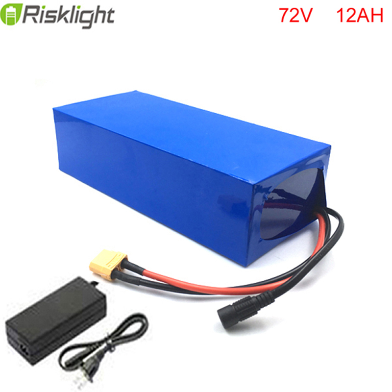 High C- Rate 72v ebike battery pack use 18650 cell 72 volt 12ah rechargeable ebike battery for eletronic bike with charger rechargeable 8 4v 4400mah 18650 battery pack for bike light black