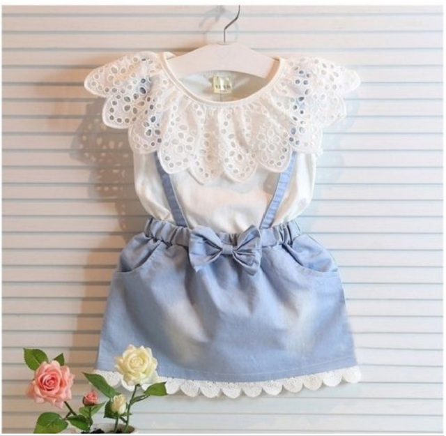 Girls cotton Dress Cute Princess Sleeveless Denim Tulle Bowknot High-quality Dresses