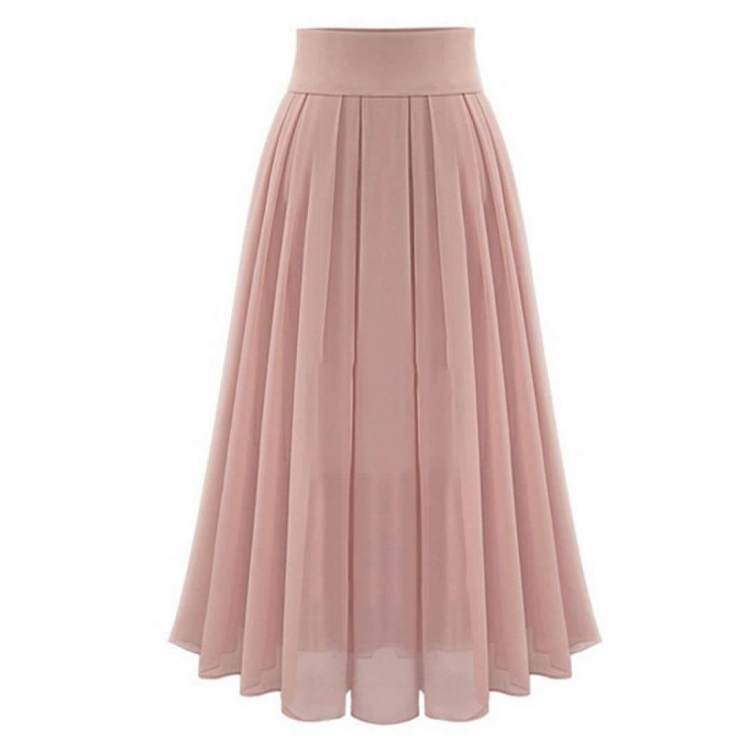 Chiffon Summer Skirt Sweet Solid Pink Women Boho 2018 Faldas High Waist Pleated Long Skirts Womens Maxi Chiffon Skirt