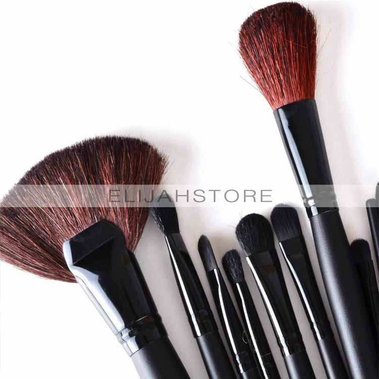 Chuse Beauty 24pcs Professional Cosmetic Facial Make up Brush Kit Makeup Brushes Tools Set Black Leather Case tattooing Makeup sponge puff 24 pcs cosmetic makeup brushes professional brush tools make up premium full function high quality facial cheek