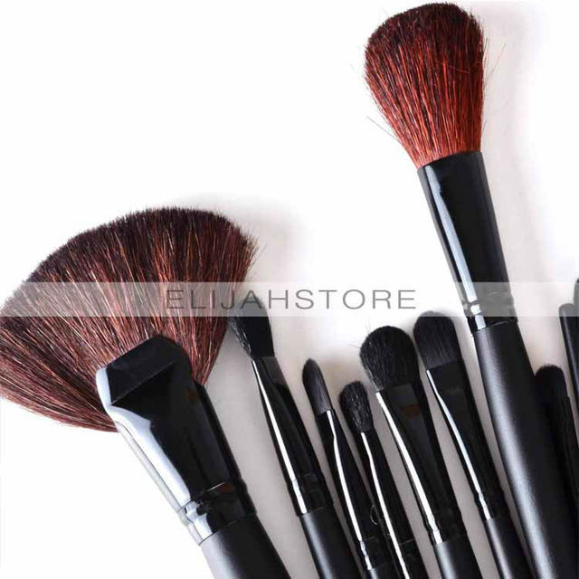 Chuse Belleza 24 unids Profesional Estética Facial maquillaje Pincel Kit Brochas de Herramientas Set Funda de Cuero Negro tatuaje