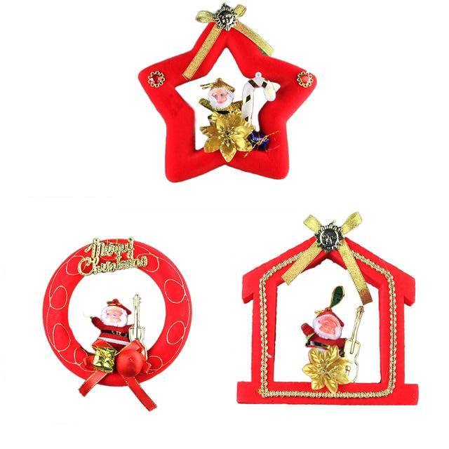 2017 cute design christmas wreath with santa claus rattan wreath