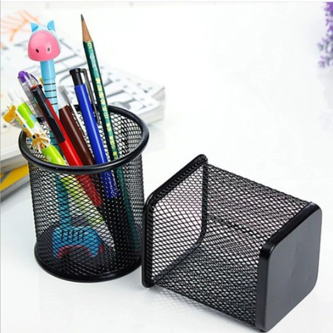 Hot sale case Black Round Steel Mesh Style Pen Pencil Cup Desk Organizer Holder for Home Office ( Round Mesh Pen Holder)