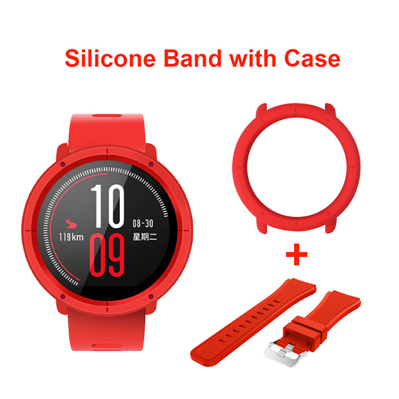 Silicone Watch Band Strap With Case Frame For Xiaomi Huami Amazfit Pace Replacement 22mm Wrist Bands Full Protective Cases Cover