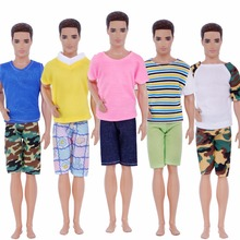 Handmade 5 Pcs Men Outfits Mixed Style Stripe Camouflage T-Shirt Vest Plaid Shorts Pants Clothes For Ken Doll Accessories Gifts