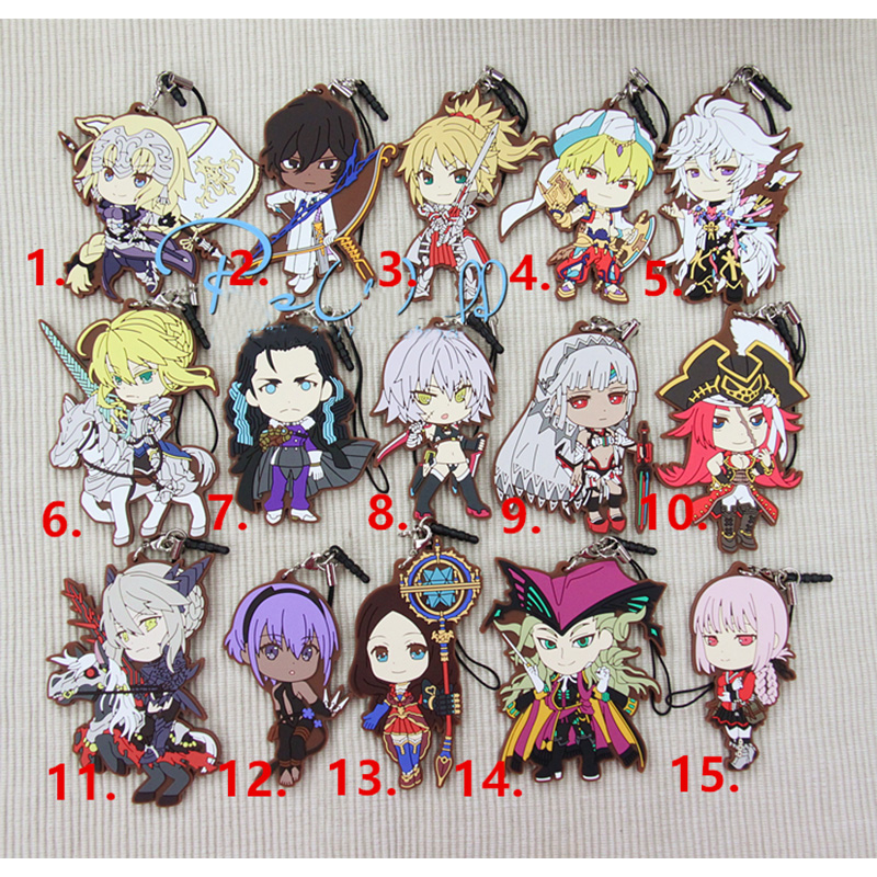1pcs Limited Anime Keychain Fate/Grand Order Mysterious Heroine Full Characters Resin Rubber KeychainGift Collect Pendant