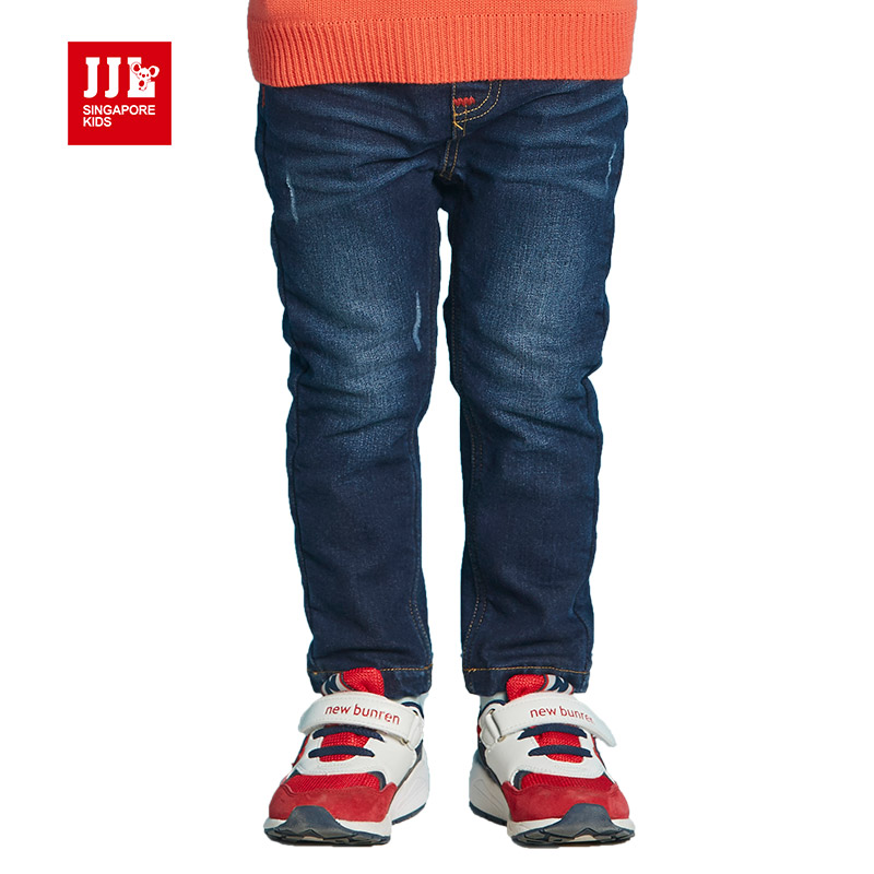 winter fleece lining boys jeans dark blue kids jeans 2016 kids clothes children pants full length infant clothes