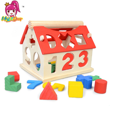 2017 Baby Kids Wooden House Building Blocks Educational Learning Construction Developmental Toy Set High Quality Brain Game Toy