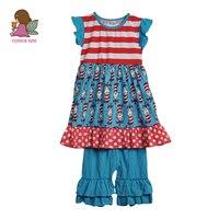 Conice ماركة طفل فتاة الملابس يحدد الأزرق طباعة اللباس متعددة لاي كشكش capris أزياء نمط الصيف الاطفال بوتيك مجموعات s121