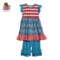 Conice Brand Toddler Girl Clothing Sets Blue Print Dress Multiple Lay Ruffle Capris Fashion Style Summer