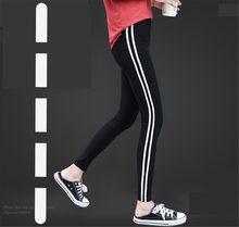 Pantaloni della tuta abbigliamento sportivo Laterale strisce bianche pantaloni  della ragazza 2018 di autunno della molla nero ha. edad0681e9d4