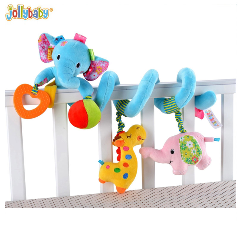 2017 New Infant Toys Baby Crib Revolves Around The Bed Playing Soft Toy Blue ink Elephant Lovely Crib Hanging For Children baby mobility in the crib infant toy lion spiral bed pram hanging plush toy baby toys rattles 0 12 months byc002 pt49