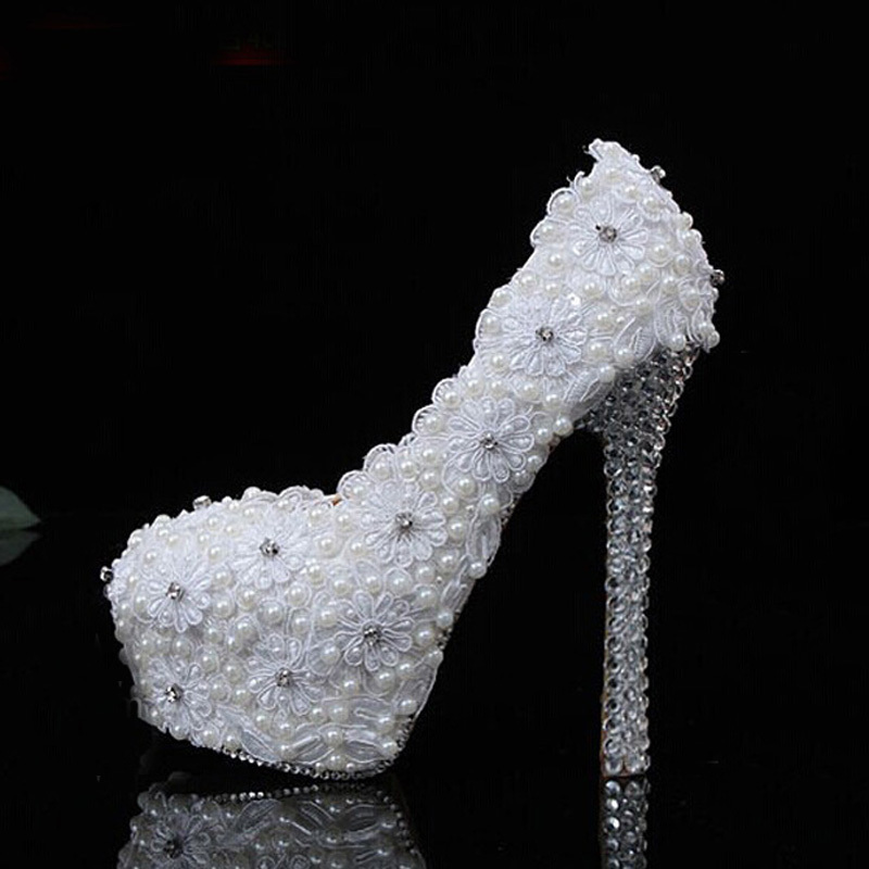 Gorgeous 12cm Heel White Lace Wedding High Heel Shoes Party Prom Dress Shoes Lady Bridal Popular Formal Shoes fashion white lace high heel wedding bridal shoes bridesmaid dress shoes elegant party embellished prom shoes lady dancing shoes