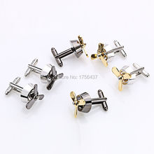 Men's Jewelry Propeller Airscrew Cufflinks Fan Cuff Links Silver Plane Fan Cufflink For Men Shirt cuffs Cufflink Best Gift