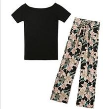 YUANYU Summer dress new arrival ladies suit black shirt female large color high waist tie wide leg pants trousers two sets