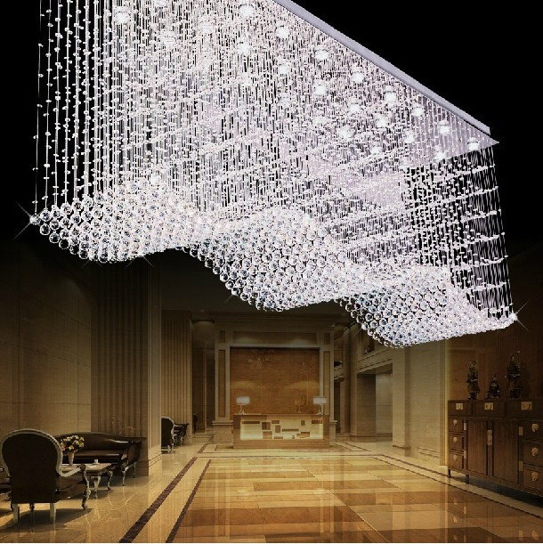 Large Modern Crystal Chandelier Rectangle Wave Design Hanging Chandeliers Lighting Fixtures 1