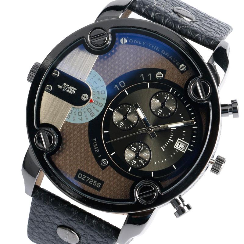Prix pour Cadeau de noël Moderne Grande Taille Montre Hommes Date Bracelet Montre Sport Montre-Bracelet Militaire De Luxe Bracelet En Cuir Grand Mâle Horloge