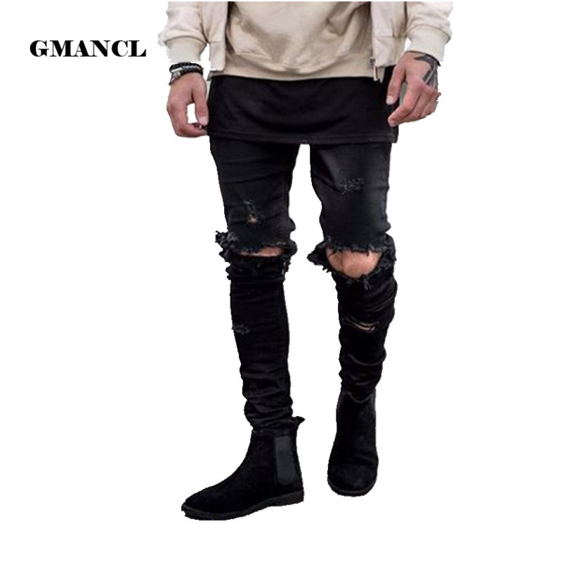 New Kanye West Justin Bieber Streetwear Hip Hop Swag Man Jeans Black Skinny Ripped Hole Washed Fashion Men Jeans Pants Joggers