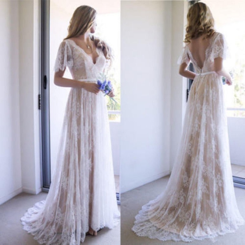 Bohemia Boho Lace Wedding Dresses 2019 Sexy Cap Sleeves V Neck A-line Court Train Summer Beach Cheap Long Bridal Gowns