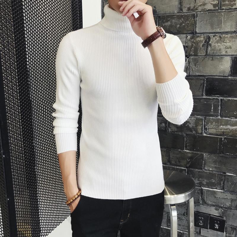GESSVANEY/ Gosling Men's Turtleneck Double Lapel Bottom Sweater Tight Knit Sweater Thread Coat Men's Wear