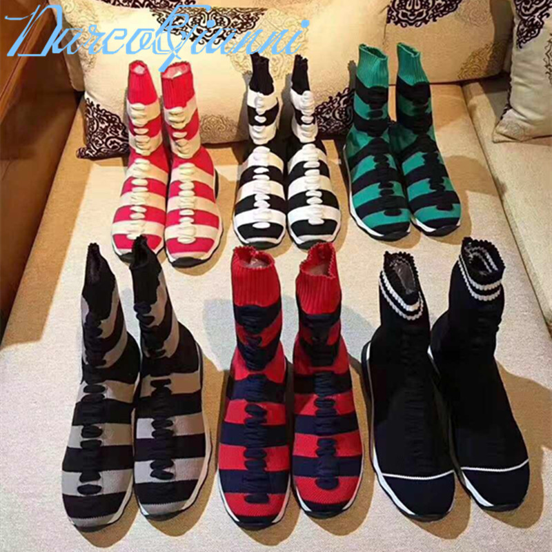 2018 Hot Women Boots Flat with Heel Elastic Sweater Booties Shoes Slip On Autumn Gingham Shoes gingham frill trim pants