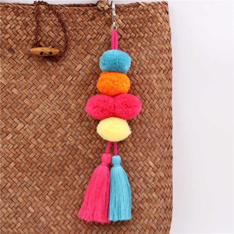 1 pc Boho Jóias Chaveiros Com Borla Saco Acessórios Saco Pompom Pendurado Para As Mulheres Presente