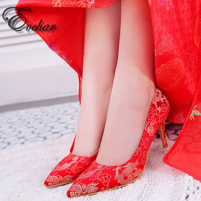 New  Elegant red wedding shoes Chineses style bridal cheongsam dress shoes thin high heels women pumps  size 34-39