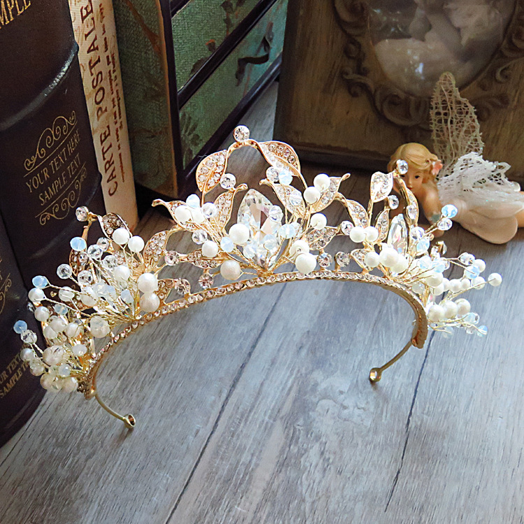 bride Jewelry large Tiara beaded handmade Birthday wedding hair accessories selling Taobao catwalk crown ...