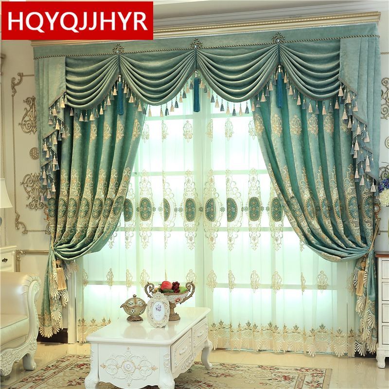 US $14.3 52% OFF|American luxury green embroidered curtains for bedroom  windows with high quality Voile Curtain for living room hotel kitchen-in ...