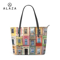 ALAZA Different Window Pattern Shoulder Bag With Zipper PU Leather Handbag Large Capacity Tote Bag For Women Customizable