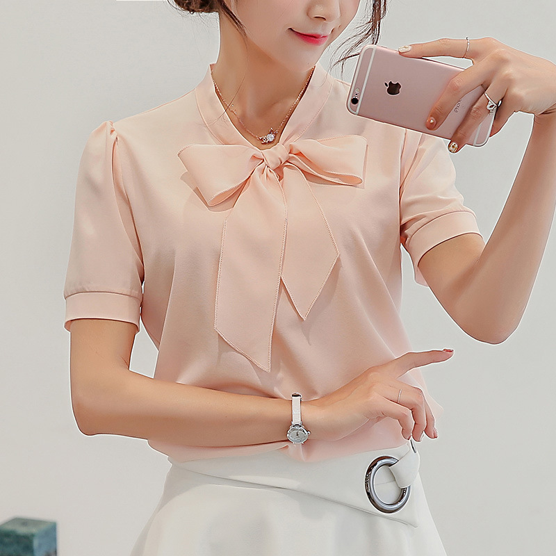 5cc126eb7a7 Women Short Sleeve Bow-tie Collar Plus Size Chiffon Fabric Office Wear  Blouse