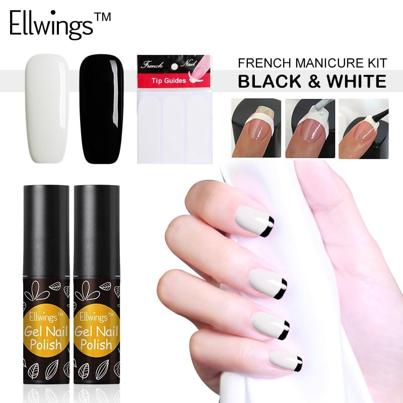 Ellwings 2pcs French Nail Tips Manicure Set Black White Gel Polish ...