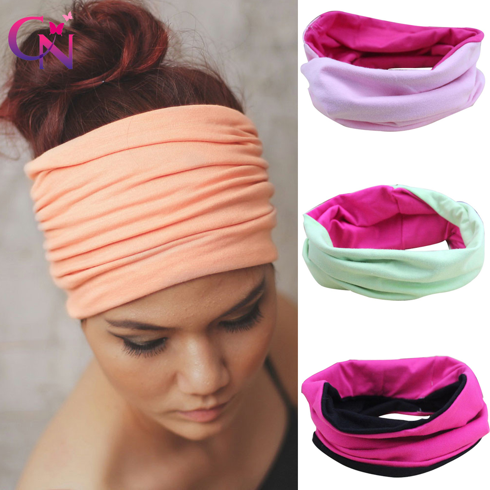 Fashion Wide Cotton Yoga Headband For Women Adult Leopard Dots Striped Printed Fabric Hairband Turban Headwrap Hair Accessories Girl's Hair Accessories