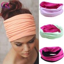 Bandeau élastique en coton pour femmes, large Patchwork, à la mode, en tissu uni, pour Yoga, Sport, Turban, accessoires pour cheveux