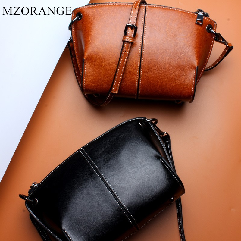 MZORANGE Brand Oil wax Genuine Leather Women handbag Cowhide Fashion Shoulder Bag Casual Lady Small Bag Messenger Bag Coin Purse hot sale women s backpack the oil wax of cowhide leather backpack women casual gentlewoman small bags genuine leather school bag