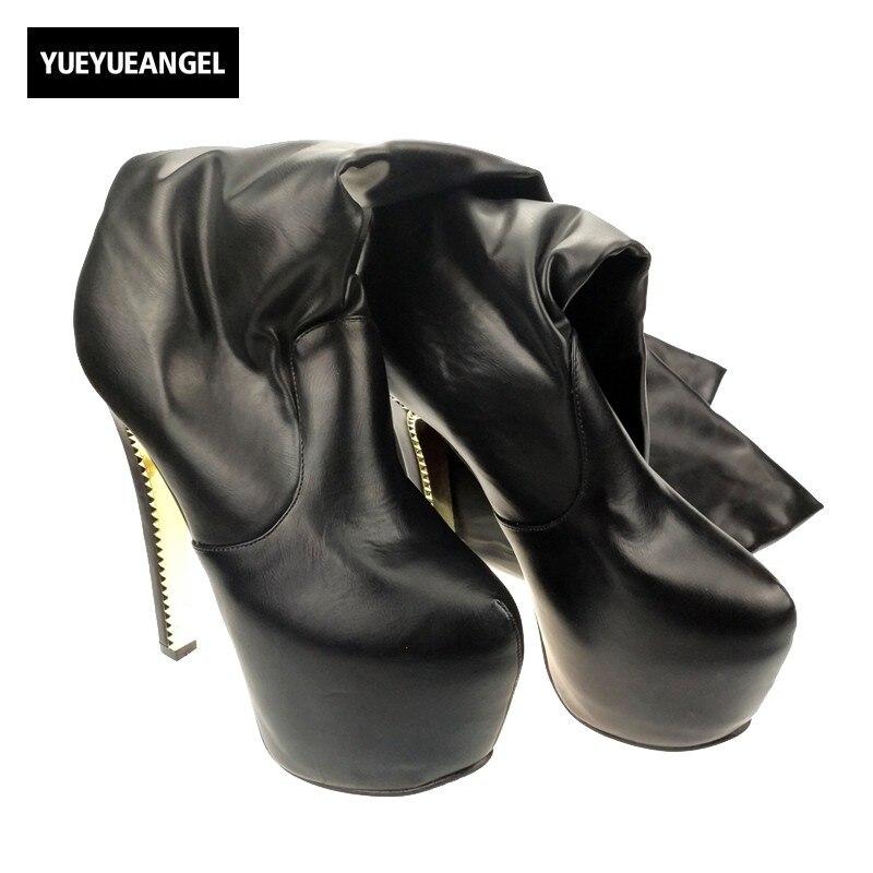New Fashion Women's Platform Block High heel Over Knee High Boots For Woman High Platform PU Leather Shoes Size Black Us 8 peter block stewardship choosing service over self interest